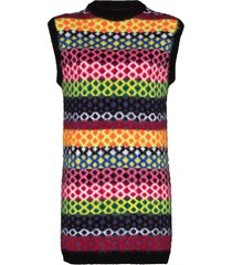 agr sleeveless multi-pattern knit dress - black