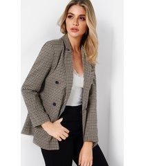 rejilla solapa cuello manga larga botón diseño abrigo