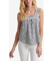 lucky brand striped square-neck top