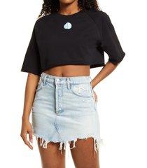 women's bp. organic cotton crop sweatshirt, size xx-small - black