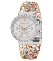 women's kendall + kylie triple link mixed gold tone, silver tone and rose gold tone stainless steel strap analog watch 40mm