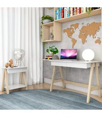 escrivaninha cavalete e mesa lateral cavalete natural branco casah