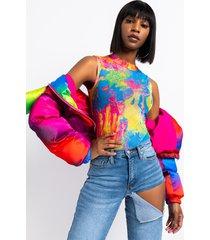 akira cotton candy sleeveless tie dye print mesh bodysuit