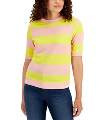 style & co striped short-sleeve sweatshirt, created for macy's