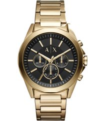 ax armani exchange men's chronograph drexler gold-tone stainless steel bracelet watch 44mm