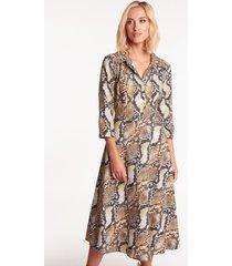 rozkloszowana sukienka w wężowy wzór