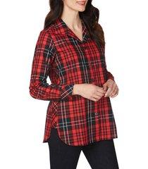 foxcroft pandora matheson tartan wrinkle-free shirt, size 10 in black multi at nordstrom