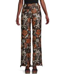 prada women's floral-cloqué wide-leg pants - brown orange combo - size 42 (6)