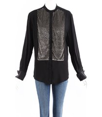 tom ford black silk sequin long sleeve top black/silver sz: m
