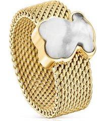 anillo mesh acero ip dorado tous