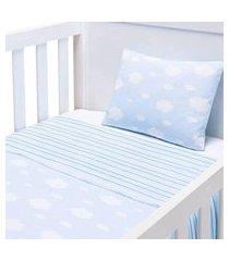 jogo lençol para berço 3 peças baby joy berço americano nuvenzinha azul