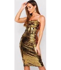 sequin bow midi dress, gold
