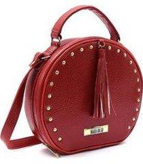 bolsa maria milão mini bag redonda alça transversal feminina