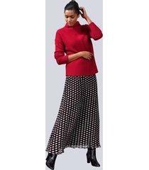 plisserad kjol alba moda svart::grå