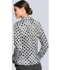 kavaj med läckert mönster alba moda grå::vit