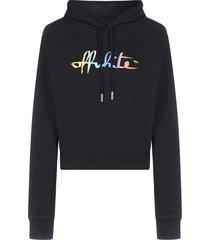off-white logo cotton crop hoodie