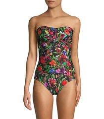 botanical-print 1-piece swimsuit