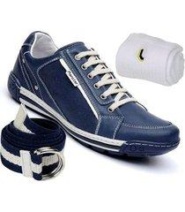 kit sapatênis ranster confortável em couro + cinto e meia lupo