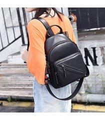mochila de mujer, mochila de moda para mujer casual salvaje bolsa de-negro