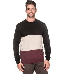 suéter passion tricot listra larga preto