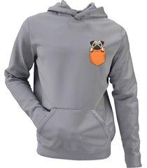 moletom criativa urbana pug in the pocket tumblr casaco blusa cinza