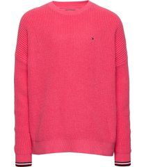 essential tommy sweater pullover roze tommy hilfiger