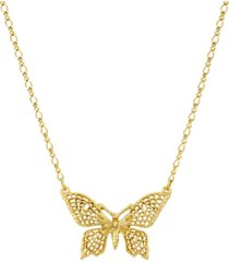 2028 women's gold tone filigree butterfly pendant necklace