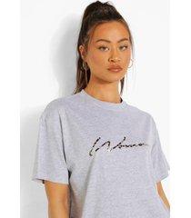 woman luipaardprint t-shirt, grey marl