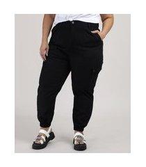 calça de sarja feminina jogger cargo cintura alta preta