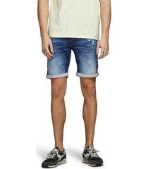 men's jack & jones rick icon ge 007 rip & repair knit denim shorts, size small - blue