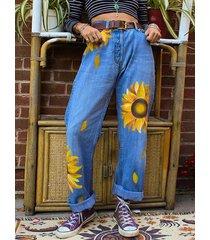 bolsillos laterales azules estampado floral denim de talle alto jeans