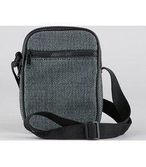 bolsa shoulder bag unissex transversal pequena com bolso cinza