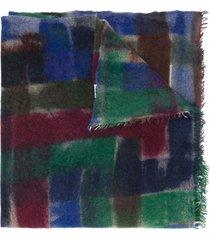 faliero sarti fine knit cashmere scarf - blue