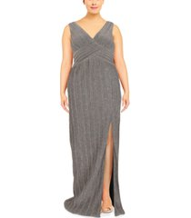 adrianna papell plus size metallic gown