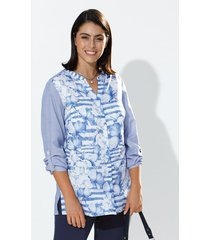 blouse m. collection blauw::wit