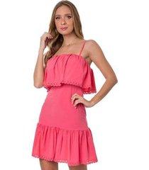 vestido curto rosa helena tricot angra babados