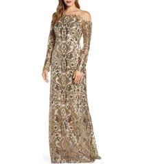 women's tadashi shoji embellished illusion long sleeve evening gown