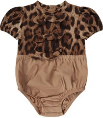 dolce & gabbana beige babygirl rompers with bows