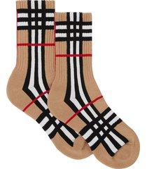burberry check-intarsia socks - brown