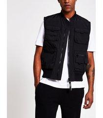 river island mens black utility pocket bomber gilet jacket