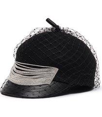 embellished mesh veil felt beret