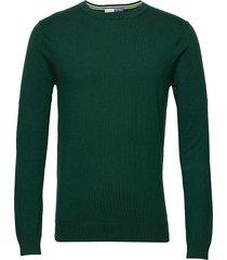 ams blauw cotton cashmere crew neck pull stickad tröja m. rund krage grön scotch & soda