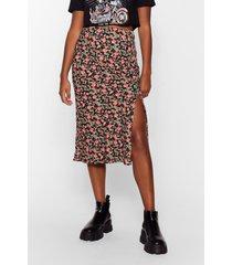 womens leaf it to me slit midi skirt - black