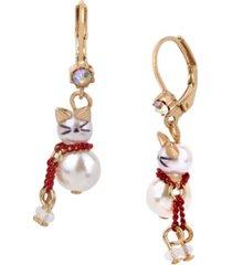 betsey johnson pearl kitty drop earrings