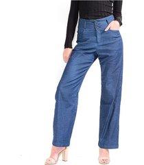 pantalón para mujer tiro alto corte recto color-azul-talla-4