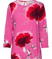 blouse-woven blus långärmad rosa brandtex