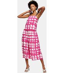 pink check tie tiered drop waist midi dress - multi