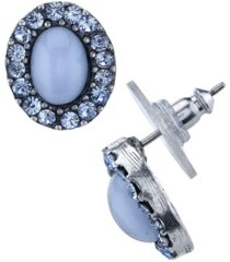 2028 pewter tone lt. blue moonstone and crystal oval post button earrings