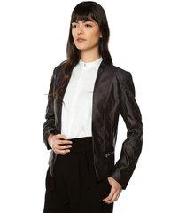 blazer crop color siete para mujer - negro