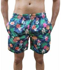 bermuda short abacaxi florido moda praia relaxado estampado